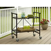 COSCO Outdoor Living™ INTELLIFIT Outdoor Or Indoor Folding Serving Cart With 2 Slatted Shelves, Sandy Brown (87501SBDE)
