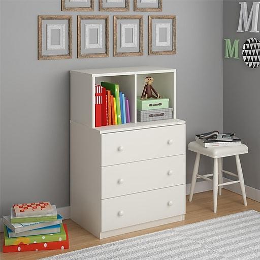 Ameriwood Home Skyler 3 Drawer Dresser with Cubbies, White (5835015PCOM)