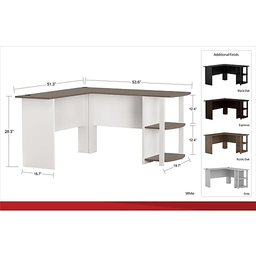 Outstanding Ameriwood Home Dakota L Shaped Desk With Bookshelves White Download Free Architecture Designs Licukmadebymaigaardcom