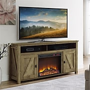 """Ameriwood Home Farmington Electric Fireplace TV Console, Natural, For TVs up to 60"""" (1795296COM)"""
