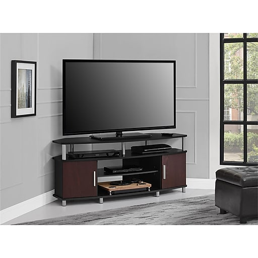 "Ameriwood Home Carson Corner TV Stand, Black/Cherry, For TVs up to 50"" (1797196COM)"