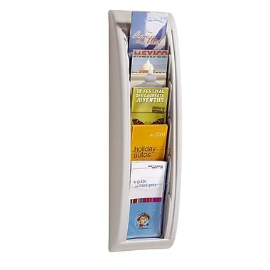 Paperflow Quick Fit Systems Wall Mounted Literature Display, Five Pockets, 1/3 Letter, White (4062US.13)