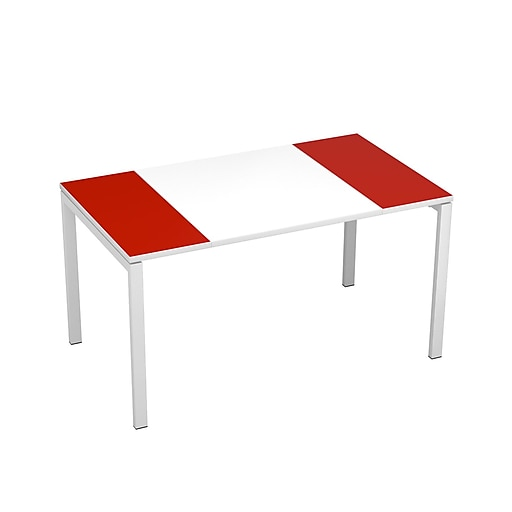 """Paperflow easyDesk Training Table, 55"""" Long, White Middle with Red Ends (B140.13.13.18)"""