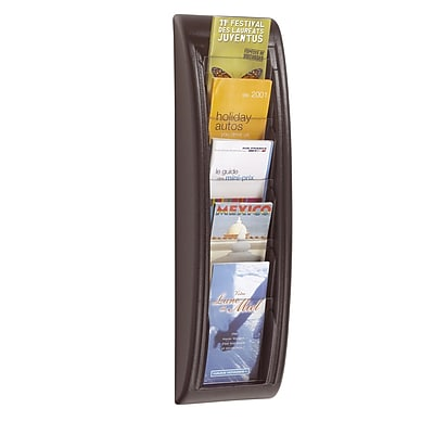 Paperflow Quick Fit Systems Wall Mounted Literature Display, Five Pockets, 1/3 Letter, Black (4062US.01)