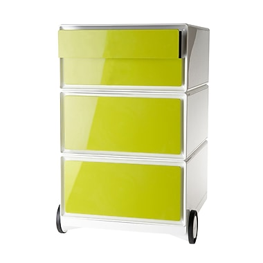 Paperflow easyBox Four Drawer Mobile Pedestal, White and Green (EBGHPH.08)