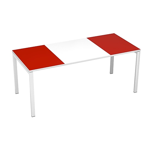 "Paperflow easyDesk Training Table, 71"" Long, White Middle with Red Ends (B180.13.13.18)"