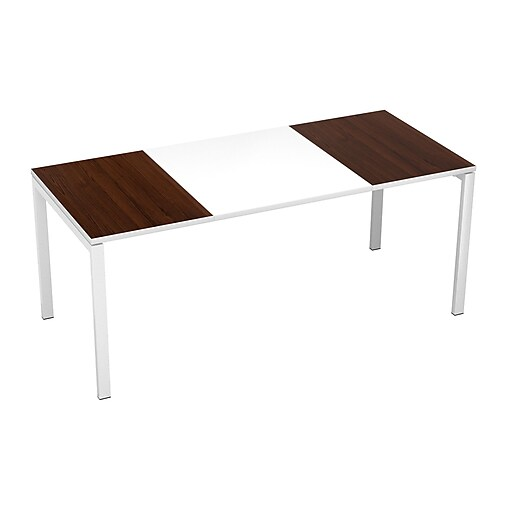 """Paperflow easyDesk Training Table, 71"""" Long, White Middle with Wenge Ends (B180.13.13.40)"""