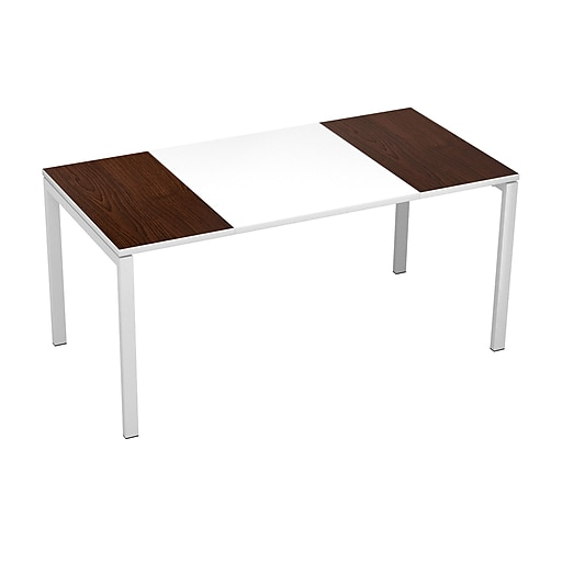 "Paperflow easyDesk Training Table, 63"" Long, White Middle with Wenge Ends (B160.13.13.40)"