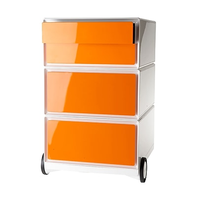 Paperflow easyBox Four Drawer Mobile Pedestal, White and Orange (EBGHPH.05)