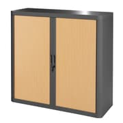"""Paperflow easyOffice Storage Cabinet, 41"""" Tall with Two Shelves, Charcoal and Beech (E1CT0009400029)"""