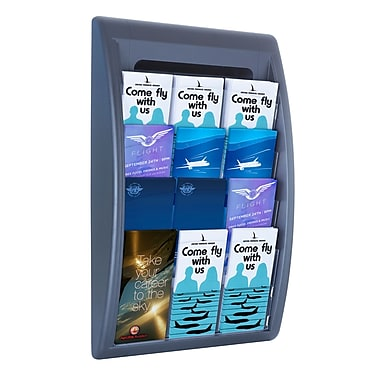Paperflow Quick Fit Systems Wall Mounted Literature Display, Four Pockets, 1/3 Letter x3, Charcoal (4060US.11)