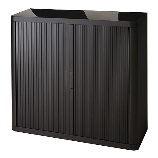 """Paperflow easyOffice Storage Cabinet, 41"""" Tall with Two Shelves, Black (EE000006)"""