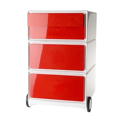 Paperflow easyBox Four Drawer Mobile Pedestal, White and Red (EBGHPH.18)