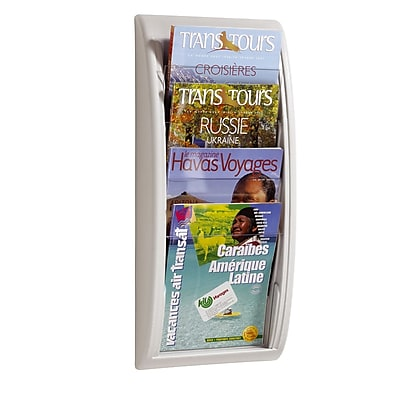 Paperflow Quick Fit Systems Wall Mounted Literature Display, Four Pockets, Letter, White (4061US.13)