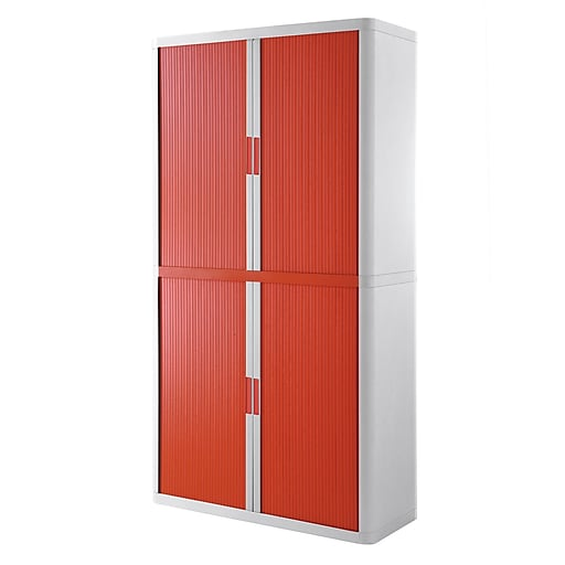 "Paperflow easyOffice Storage Cabinet, 80"" Tall with Four Shelves, White and Red (E2CT0009800056)"