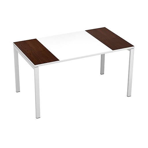 "Paperflow easyDesk Training Table, 55"" Long, White Middle with Wenge Ends (B140.13.13.40)"