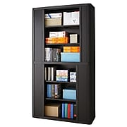 """Paperflow easyOffice Storage Cabinet, 80"""" Tall with Four Shelves, Black and Beech (E2CT0005100043)"""
