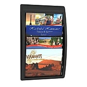 Paperflow Quick Fit Systems Wall Mounted Literature Display, Four Pockets, 1/3 Letter x3, Black (4060US.01)