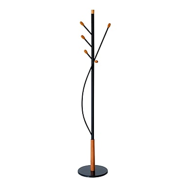 Floral Coat Rack/Stand with Five Pegs, Black/Cherry Wood (PT011.01)