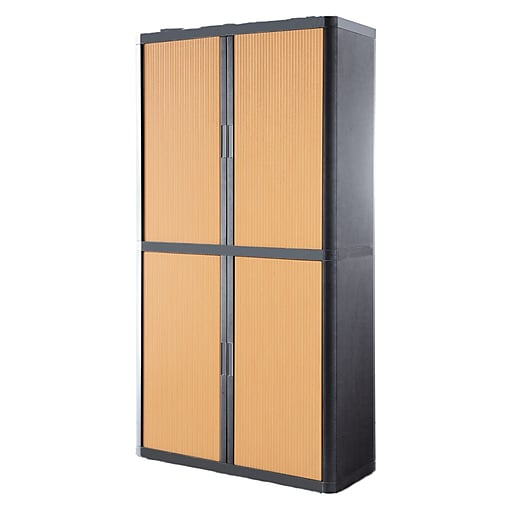 """Paperflow easyOffice Storage Cabinet, 80"""" Tall with Four Shelves, Charcoal and Beech (E2CT0009400040)"""