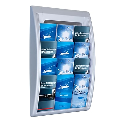 Paperflow Quick Fit Systems Wall Mounted Literature Display, Four Pockets, 1/3 Letter x3, Silver (4060US.35)