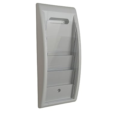 Paperflow Quick Fit Systems Wall Mounted Literature Display, Four Pockets, Letter, Grey (4061US.02)