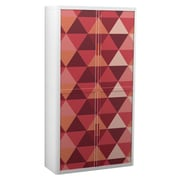 """Paperflow easyOffice Storage Cabinet, 80"""" Tall with Four Shelves, Maroon Triangles (2809)"""