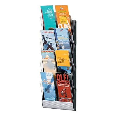 Paperflow Maxi System Wall Mounted Literature Display, Eight Pockets, 1/3 Letter (4065X4.35)