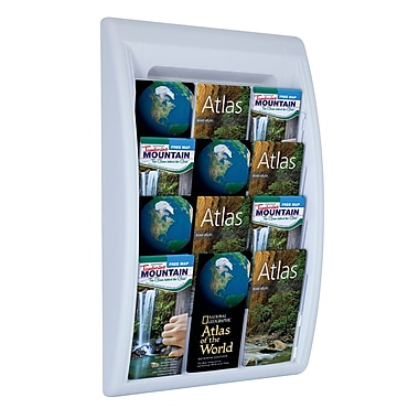 Paperflow Quick Fit Systems Wall Mounted Literature Display, Four Pockets, 1/3 Letter x3, Grey (4060US.02)
