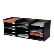 "Paperflow easyOffice Polystyrene Stackable Horizontal Organizer, 33.75"" W, Black (535.01)"