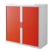 """Paperflow easyOffice Storage Cabinet, 41"""" Tall with Two Shelves, White and Red (E1CT0009800042)"""