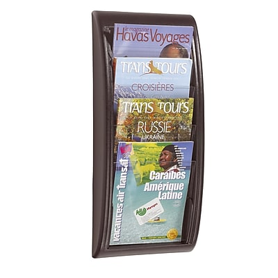 Paperflow Quick Fit Systems Wall Mounted Literature Display, Four Pockets, Letter, Charcoal (4061US.11)