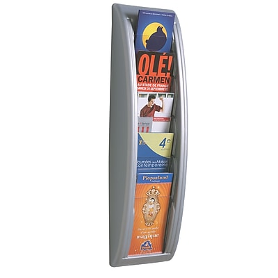 Paperflow Quick Fit Systems Wall Mounted Literature Display, Five Pockets, 1/3 Letter, Silver (4062US.35)