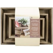 Hampton Art Rustic Footed Wooden Tray Set 3/Pkg-12""