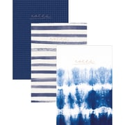 """Kaiser Style Notebooks 6""""X8"""" 60 Pages 3/Pkg-Indigo; 1 Blank, 1 Lined & 1 Grid"""