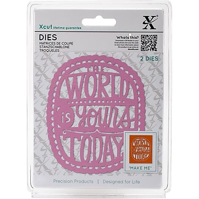 Xcut Decorative Dies 2/Pkg-The World Is Yours Today