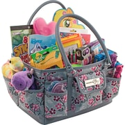 """Everything Mary Deluxe Store & Tote Organizer 13.5""""X10""""X8""""-Gray & Pink Floral W/Gray & Pink Trim"""