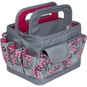 Everything Mary Desktop Caddy Organizer-Gray & Pink Floral W/Gray & Pink Trim