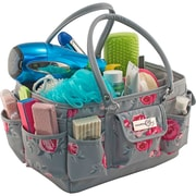 """Everything Mary Deluxe Store & Tote Organizer 13.5""""X10""""X8""""-Gray & Pink Rose W/Gray Trim"""
