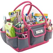 """Everything Mary Deluxe Store & Tote Organizer 13.5""""X10""""X8""""-Gray Solid W/Pink Trim"""