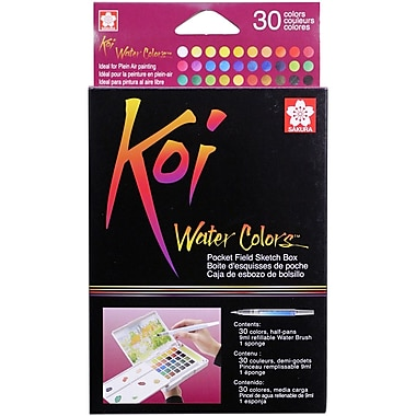Koi Watercolor Pocket Field Sketch Box - 30 Colors-Assorted Colors