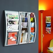 Paperflow Quick Fit Systems Wall Mounted Literature Display, Five Pockets, 1/3 Letter, Grey (4062US.02)