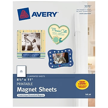 """Avery Inkjet Specialty Labels, 8.5"""" x 11"""", White, 5/Pack (3270)"""