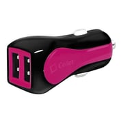 Cellet Prism RapidCharge Dual USB Car Charger for Android and Apple Devices, Pink(CLET195)
