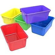 "Storex 5.1""H x 7.8""W Small Plastic Cubby Bin, Assorted Colors, 5/CT (62414U05C)"