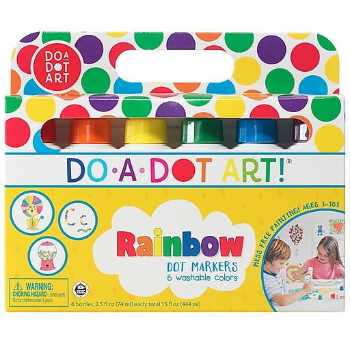 Do-A-Dot Art Washable Marker, Rainbow, 6 per PK, 3/BD (DAD101)