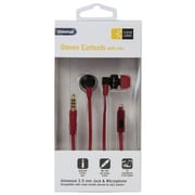 Bth 400 Series Earbuds with Microphone, Black & Red - 4 ft. Cord(AZTY03006)