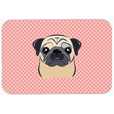 Carolines Treasures Checkerboard Pink Fawn Pug Mouse Pad, Hot Pad Or Trivet, 7.75 x 9.25 In.(CRLT63809)