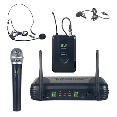 Pyle 93598916M UHF Wireless Microphone System Kit, Includes Handheld Mic Black