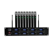 Pyle 93598924M 8-Channel Wireless Microphone & Receiver System Black